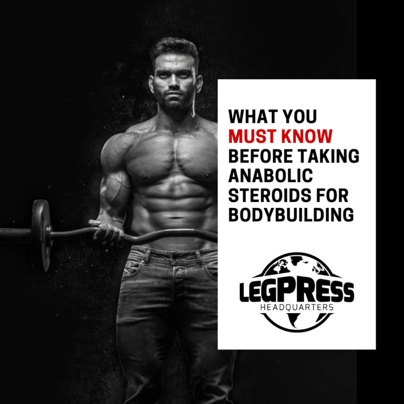 "A muscular man lifting a barbell. Text reads ""What you must know before taking anabolic steroids for bodybuilding"""